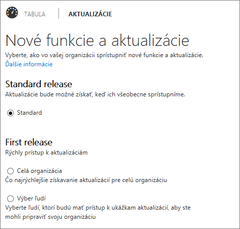 Štandardný program a program First release