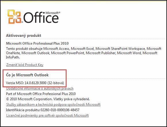 """Snímka obrazovky stránky, na ktorej možno skontrolovať verziu Outlooku 2010 – v časti """"Čo je Microsoft Outlook"""""""