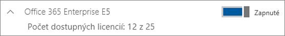 Zobrazenie licencie na Office 365 Enterprise E5 s12licenciami kdispozícii.