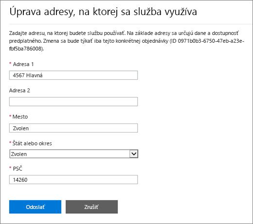 Snímka obrazovky stablou Upraviť adresu, na ktorej sa služba využíva.