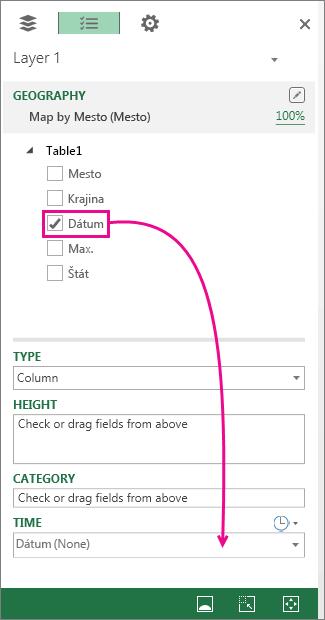 Presunutie poľa dátumu do skupiny Čas na table vrstiev