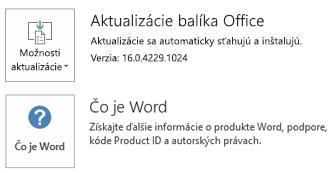 Po nainštalovaní balíka Office pomocou technológie Klikni aspusti vyzerajú informácie oaplikácii aaktualizáciách takto.