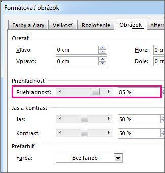 Snímka obrazovky s dialógovým oknom Formátovať obrázok v Publisheri