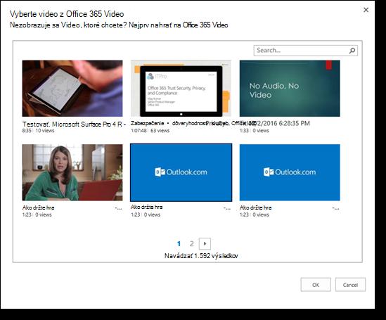 Office 365 Video výber videa na vloženie