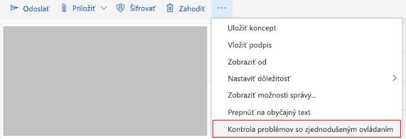 Nástroj na kontrolu problémov so zjednodušením ovládania v Outlooku online