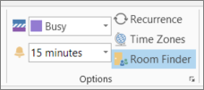 Tlačidlo Vyhľadávač miestností v Outlooku 2013