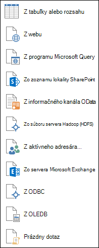 Získanie údajov z iných zdrojov