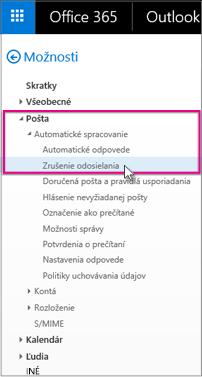 V časti Pošta > Automatické spracovanie > Nepotrebné položky
