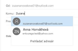 Vyberte kontakt uložený v aplikácii Ľudia