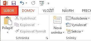 V ľavej hornej časti obrazovky kliknite na položku SÚBOR.