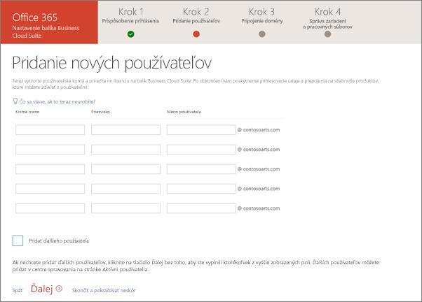 Snímka obrazovky po pridaní dvoch nových používateľov vSprievodcovi nastavením