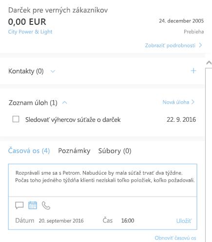Pridanie novej aktivity prostredníctvom funkcie riadenia vzťahov so zákazníkmi pre Outlook