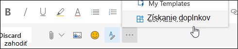 Snímka obrazovky s tlačidlom získať Doplnky