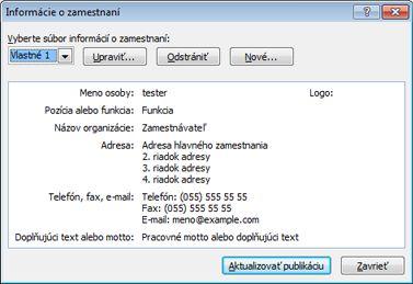 Úprava množiny informácií o zamestnaní v programe Publisher 2010