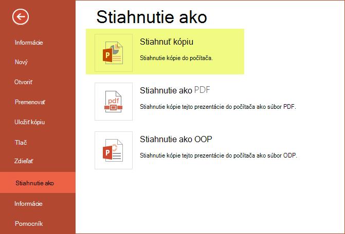 Použitie stiahnuť kópiu uložte prezentáciu do počítača