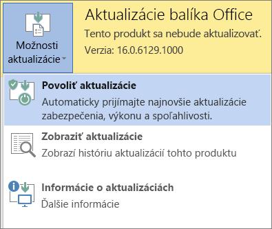 Kliknite na položku Možnosti aktualizácie a potom na položku Povoliť aktualizácie