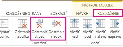 Obrázok príkazov Odstrániť tabuľku aOdstrániť riadok na karte Nástroje tabuliek – Rozloženie na páse snástrojmi
