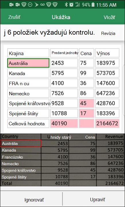 Excel import údajov z obrázka vám poskytuje možnosť opraviť všetky problémy, ktoré našiel pri konvertovaní údajov.