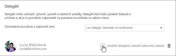 Snímka obrazovky so začiarkavacím políčkom Umožniť delegátovi zobraziť súkromné udalosti.