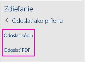 Obrázok dvoch možností odoslania dokumentu e-mailom ako kópie alebo ako PDF súboru na table Zdieľať