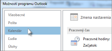 Kliknite v možnostiach Outlooku na Kalendár.