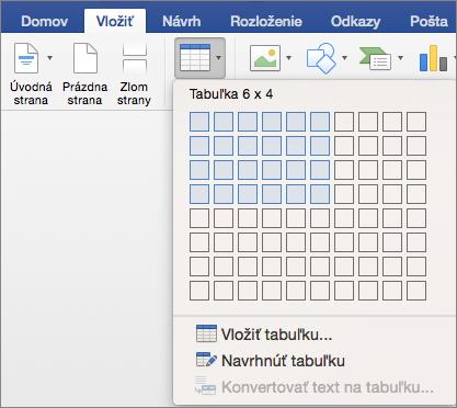 Rýchle vloženie tabuľky výberom počtu riadkov a stĺpcov