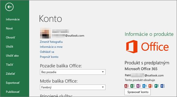 Konto Microsoft priradené kbalíku Office sa zobrazí vokne Konto aplikácie balíka Office