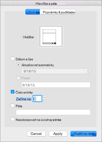 Zobrazí sa dialógové okno Hlavička a päta v PowerPointe 2016 pre Mac