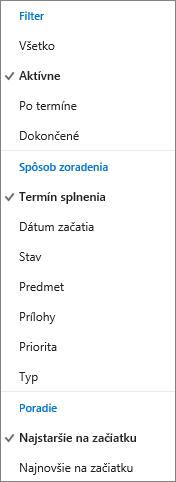 Výber spôsobu filtrovania, zoradenia ausporiadania úloh vzozname Úlohy vslužbe Outlook.com