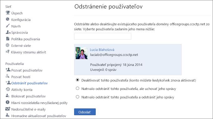 Snímka obrazovky zobrazujúca spôsob deaktivácie používateľa v Yammeri.