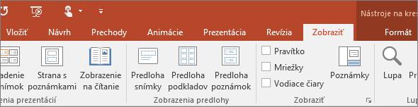 Karta Zobraziť na páse s nástrojmi v PowerPointe