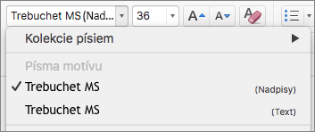 Snímka obrazovky zobrazuje možnosti Písma motívov pre nadpisy a telá textu, ktoré sú dostupné v rozbaľovacom ovládacom prvku Písma v skupine Písma na karte Domov.