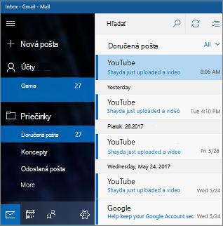 Hlavná obrazovka vaplikácii Pošta pre Windows 10