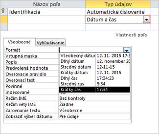Vlastnosť formát poľa typu dátum/čas