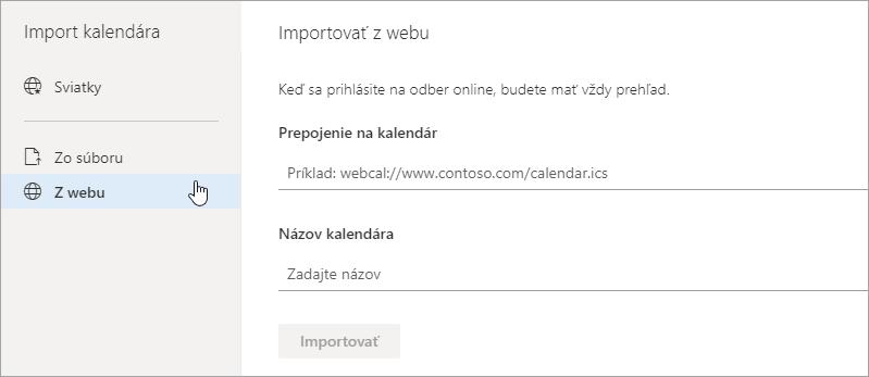 Snímka obrazovky s importovať z web možnosť