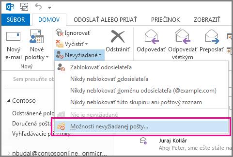 Ponuka Nevyžiadané v Outlooku 2013