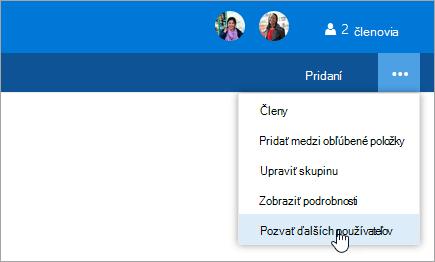 Snímka obrazovky s tlačidlom pozvať ostatných v ponuke Nastavenie skupiny.