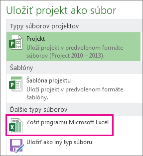 Uloženie súboru projektu ako zošita Microsoft Excelu