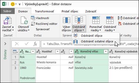 Power Query > Editor dotazov > Odstrániť stĺpce