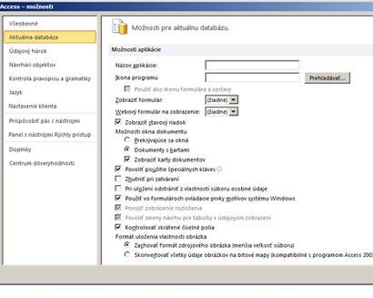 Dialógové okno možností programu Access s fokusom na možnostiach aktuálnej databázy