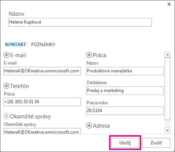 Pridanie nového kontaktu zo správy do Outlooku