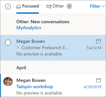 Outlook v zobrazení na webe Doručená pošta