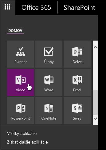 Snímka obrazovky stablou aplikácií saktívnou dlaždicou Video.