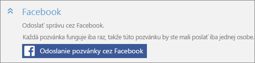 Detail časti Facebook stlačidlom Odoslať pozvánku cez Facebook vdialógovom okne Pridanie používateľa.