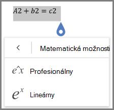Zobrazuje sa matematické rovnice formáty
