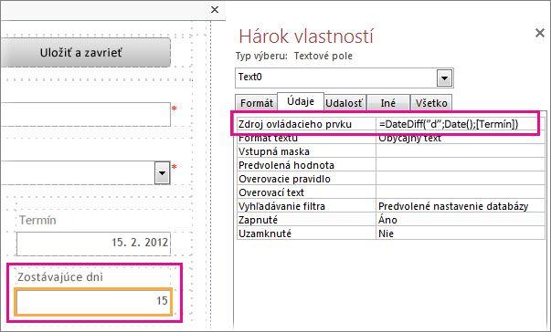 Zadanie funkcie DateDiff do vlastnosti textového poľa Zdroj ovládacieho prvku.