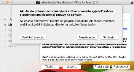 Snímka obrazovky soknom na odsúhlasenie licenčnej zmluvy na softvér