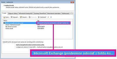 Zobrazenie konta servera Microsoft Exchange v dialógovom okne Nastavenie kont