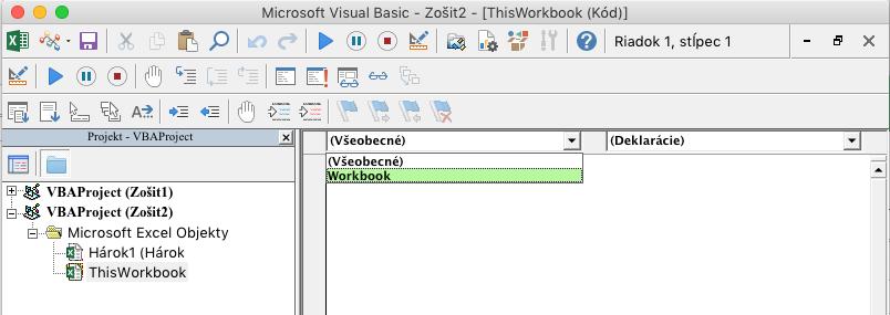 Editor VBE zobrazujúci rozbaľovací zoznam na výber objektu