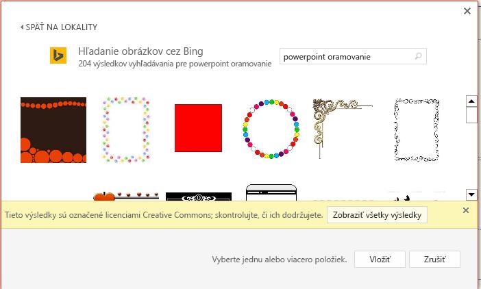 Výsledky vyhľadávania pre powerpointové orámovanie vBingu.